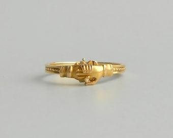 Antique Fede Gimmel Ring. 18k Gold Hands & Hearts. Engagement. Wedding Band.