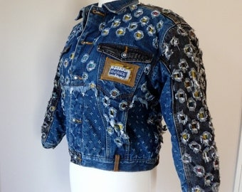 80 S Hip Hop Jean Jacket Major Damage Distressed Denim