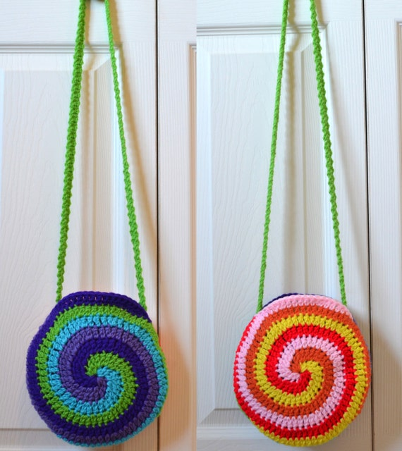 Crochet Rainbow Bag : SALE Crochet Hobo Bag, Rainbow, Circular, Pouch, Small, Bright ...