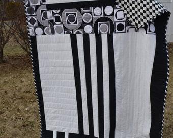 Handmade Modern Quilt Mid Century Blanket Black and White Gatsby Bold Avant Garde Graphic Contemporary Modern Hipster Pixel Throw Quilt