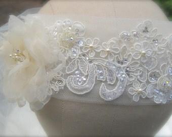 Boho Chic, Ivory Lace Headband, Tulle Bridal Veil, Organza Flower- GRACE-Custom Order