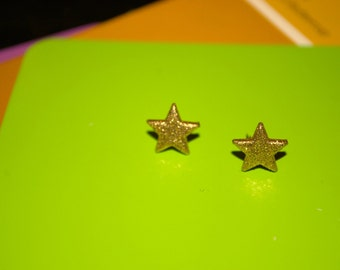 Tiny Star Earrings -- Studs, Gold Star Studs, Glittery Gold Star Earrings