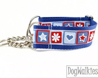 "Hearts, Stars and Daisies Dog Collar // 1.5"" (38mm) Wide // Wide Martingale or Quick Side Release // Choice of collar style and size"