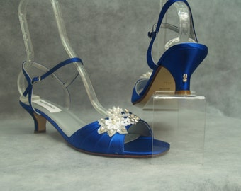 Brides Something BLUE Wedding Shoes 1 3/4'' heel lace PEARLS and Crystals,Low Heel,Open Toe, Ankle Strap, Royal Blue Satin Heels, Victorian