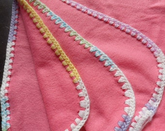 Handmade Pink Fleece Crib Blanket, Soft Pink Receiving Blanket with Crocheted Edge