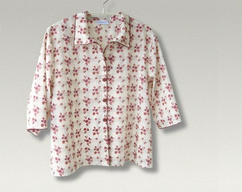 SHORT SHIRT in original Liberty of London tana lawn (HAXBY design) - ooak - light fabric, perfect for summer - 3/4 sleeves