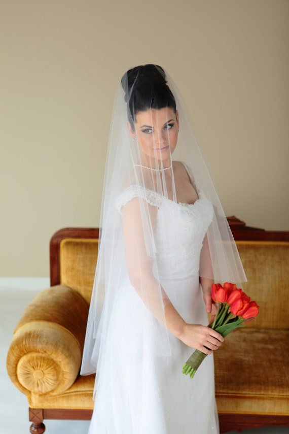 2-Tier FINGERTIP DROP Veil (Beaded comb sold separately), wedding veil, accessories, blusher veil, ivory, champagne, hot pink, blush color