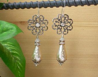 Upcycled Earrings ~ Vintage Shoe Clip ~ Rhinestone ~ Vintage Baroque Dimple Pearl Earrings