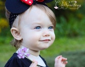 Minnie Mouse Ears Headband, Baby Minnie mouse ears headband, Photo Prop, Childrens Toddler Infant,Halloween Costume, Birthday Minnie Ears