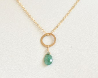 Emerald Necklace- Gold Filled Necklace- Emerald Green Necklace- Circle Necklace- Dainty Necklace- Lightweight Necklace- Simple Necklace