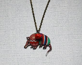 SALE Armadillo Necklace / Chevron Necklace / Chevron Animal / Zig Zag  / Southwestern / Brown / Shrink Plastic Jewelry