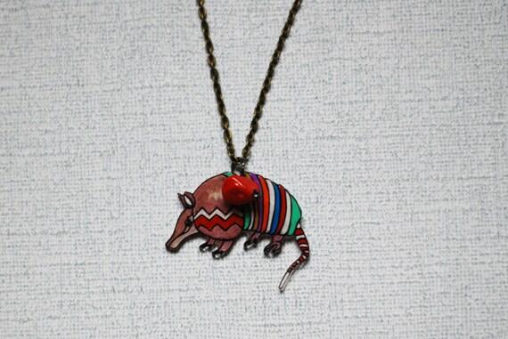 Armadillo Necklace / Chevron Necklace / Chevron Animal / Zig Zag  / Southwestern / Brown / Shrink Plastic Jewelry