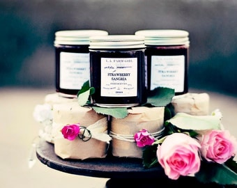 Strawberry Sangria Preserves- L.A. FARM GIRL Jams & Jellies For Rustic Farm Barn Cottage Chic Ranch Boho Favors