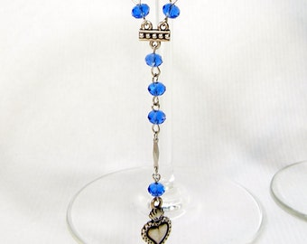 Bright Blue Fire-Polished Czech Crystal and Silver Milagro Sacred Heart Rosary Style Extra Long Necklace