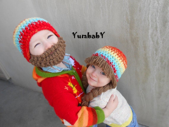 4df5c7b66d5 2 hats Multicolor Bearded Beanie and Pigtail Beanie by YumbabY