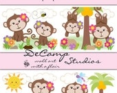 GIRL MONKEY WALLPAPER Border Decals Baby Jungle Nursery Decor Kids Room Childrens Bedroom Pink Floral Bee Dragonfly Wall Art Stickers