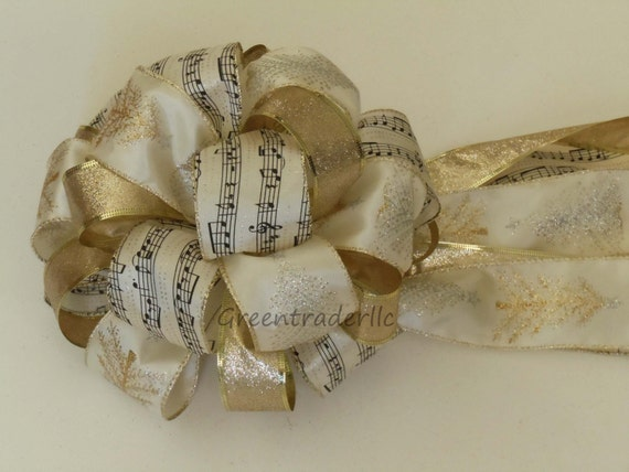 Ivory Gold Christmas Tree Topper Bow Sparkle Glitter Gold Christmas Tree Bow Wreath Swags Bow Winter Holidays Decorative Bow