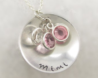 Mimi Swarovski Charm Necklace Personalized Necklace Birthstone Necklace Hand Stamped Crystal Birthstone Necklace Mothers Jewelry