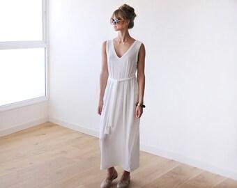 Knitted maxi white summer dress, Sleeveless maxi summer dress 1024