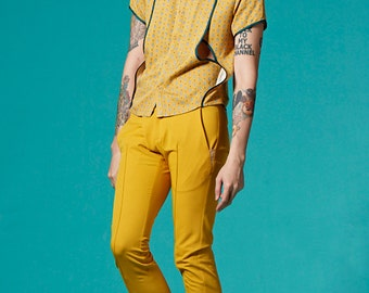 Vivacita SS14 Stand Collar with Striped Studded Shirt (Yellow Print)