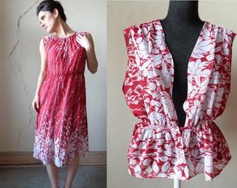 sheer floral print midi dress/ matching peplum top// large
