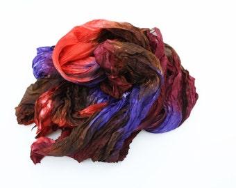 brown silk scarf - Warming trend -  brown, coral, purple, violet silk scarf.