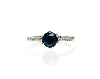 1.20ct London Blue topaz ring, Diamond, white gold, engagement ring, solitaire, Topaz engagement, blue, London blue, diamond, teal gem