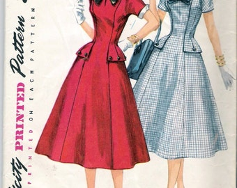 Vintage 1956 Simplicity 1528 Dress with Detachable Collar & Cuffs Sewing Pattern Size 12 Bust 30""