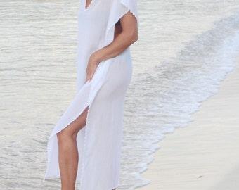 White Beach Dress with handmade lace