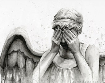 Weeping Angel Watercolor, Doctor Who Art Print, Doctor Who Painting, Don't Blink Sci-Fi Decor, Scary Angel Painting, Crying Angel, TV Show