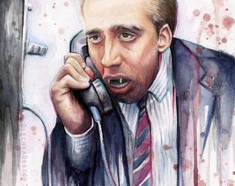 Nicolas Cage Art Print Vampire's Kiss Decor Watercolor Painting Nic Cage Print Nic Cage Art Nicolas Cage Print Nicolas Cage Meme Funny Art