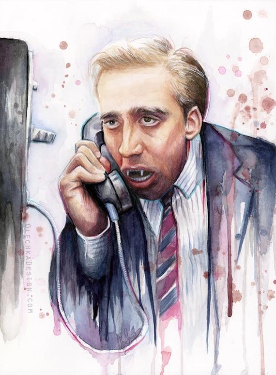 Nicolas Cage Art,  A Vampire's Kiss, Watercolor Painting, Nic Cage Print, Nic Cage Art, Nicolas Cage Print, Nicolas Cage Meme, Funny Art