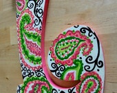 """READY TO SHIP Perfectly Paisley- Large Letter (L) bow holder.Hand painted paisley pattern pink & lime green, 2 ribbons hanging 16"""" below"""