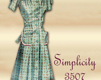 Simplicity 3587 1940s House Dress Pattern and Full Length Robe WWII Era