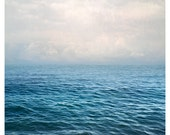 Sea print, large clouds photography, ocean art, Dreamy blue water art landscape, extra large wall art, oversized art, 24x30, mens gift idea
