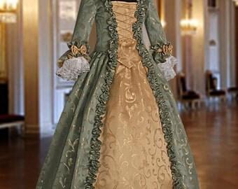 Baroque Renaissance Masquerade Dress No. 3 Green