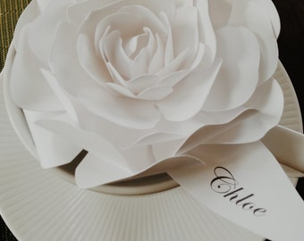 Handmade Paper Rose Flower Place Cards