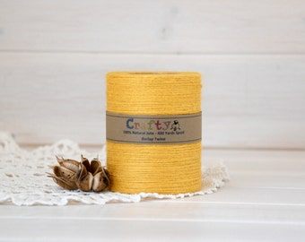 Burlap Twine 400 Yards - 100% Natural Jute String - Color Yellow - 400 Yards Spool - Yellow Jute Twine - Yellow Burlap String