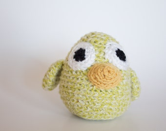 Crocheted Baby Bird - Cute Pastel Lime Green, Amigurumi Stuffed Animal Bird Chick - Perfect for Babies and Toddlers - Fun Stocking Stuffer
