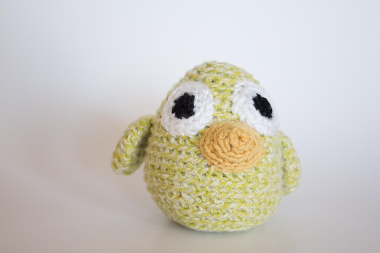 Baby Bird Amigurumi : Crocheted Baby Bird Cute Pastel Lime Green Amigurumi