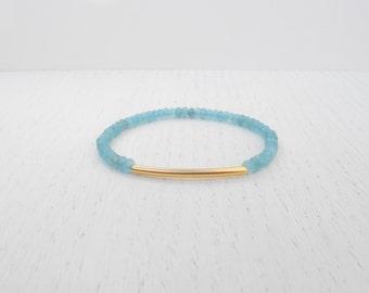 Gold tube bracelet, Blue jade bracelet