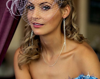 Birdcage Veil on Alice Band, Cage Veil Short, Short Veil, Bird Cage Veil, White Wedding Veil, Short Veil