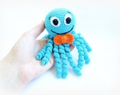 NEW COLORS Crochet Octopus Rattle Toy with Bow Amigurumi Sea Creatures Baby Plush stuffed Toy Choose Your Color