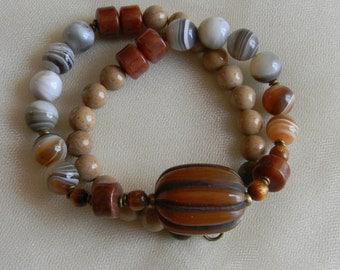 Tibetan amber bead pendant w Botswana agate beads necklace w beaded jewelry , Tibetan Copal pendant , Botswana agate beads , men's necklace