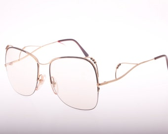 Vintage thin art nouveau squared oversize eyeglasses frame made in Italy half rimmed NOS 1970s