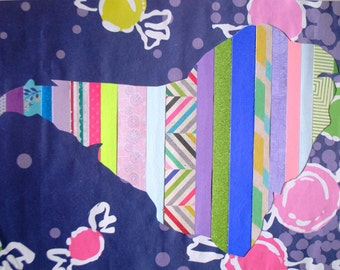 South America Purple Pink Green Lilly Pulitzer Paper Stripe Collage