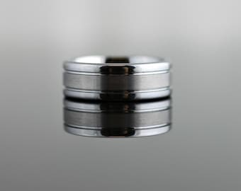 Tungsten Band Flat Pipe Cut with Matte Center - 8MM