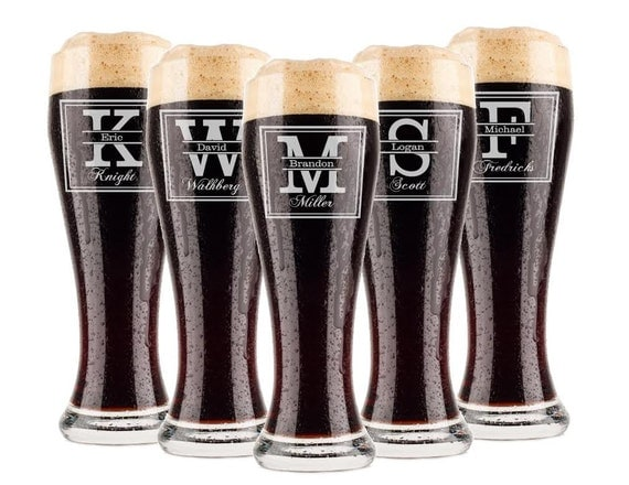 Personalized Wedding Gifts For Groomsmen: Groomsmen Gift 7 Personalized Beer Glasses By