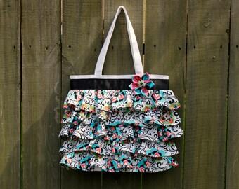 LARGE 14x14 Ruffled Canvas Tote Bag  Mom Purse, Diaper Canvas Tote, Diaper Bag Accessory, You Choose the Fabric