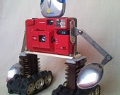 ROBUST photo camera robot upcycled machinery, movable spoon arms and R...